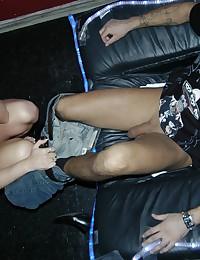 Blonde stripper works his hard cock!
