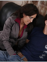 Business gal goes for his cock