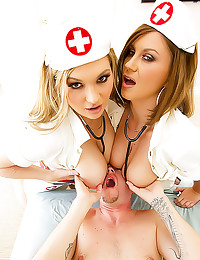 Threesome with two hot nurses