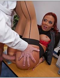 Curvy redhead office fuck