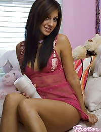 Raven Riley - Dirty latina broad gets wild in her sexy pink slip