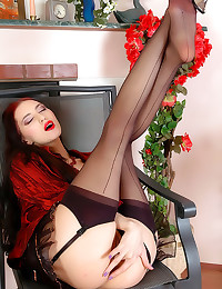 Seamed stockings on long legs