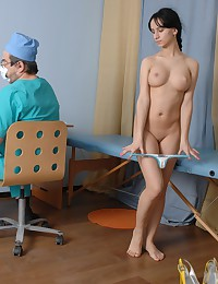 Pussy exam and sport testing of a pigtailed babe