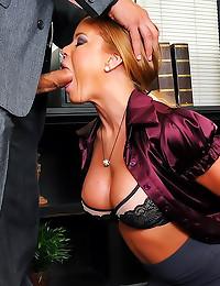 Satin blouse office chick fuc...