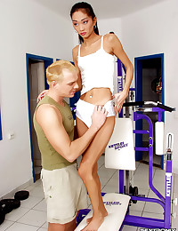 Skinny Asian works out naughty