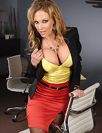 Milf in yellow satin