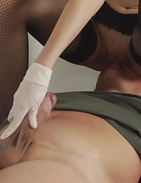 Forced milking at femdom medical exam