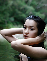 Japanese model outdoors