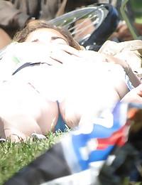 Sleeping girl up skirt. Blondie in white mini dress