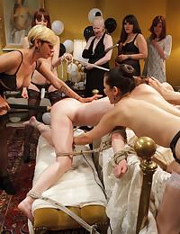 Lesbian lingerie orgy with sub slut