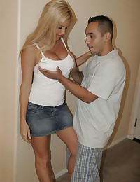 Sexy blonde milf joins her daughter and boyfriend fucking
