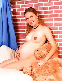 Pregnant girl lingerie stript...