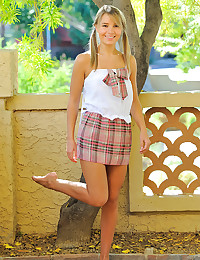 Teen in a cute skirt