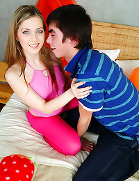 Blue eyed teen in tights fore...