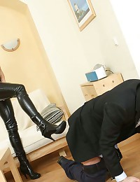 Lustful lady boss forcing her...