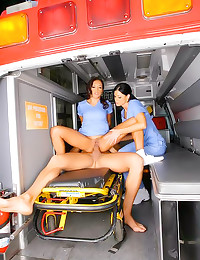 Chicks in ambulance fucked