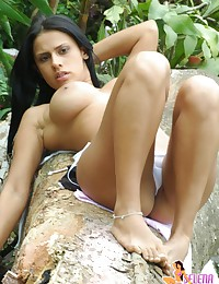 Selena Spice - Sinful latina babe posing in sexy white bikini