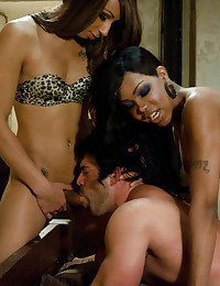 Two Black Ts ladies surprise tagteam fuck a muscly guy in his hotel room.He sucks cock, gets fucked and the girls empty their cocks on his beefy chest