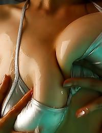 Shiny bikini and big wet tits