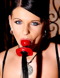 Blue eyed girl latex corset