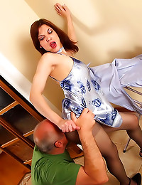 Pantyhose and satin lingerie
