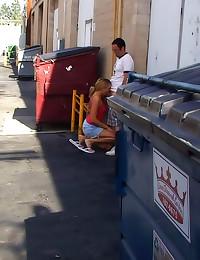 Public blowjob by a dumpster