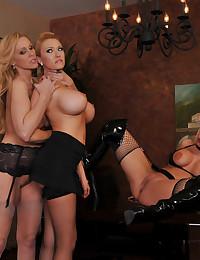 Big tits lesbian strapon threesome