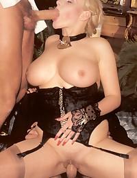 Vintage retro blonde sucking his hard cock