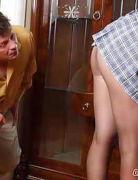 Dad gives his young housemaid...
