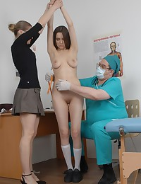 Gyno and routine examination of a fearful college girl