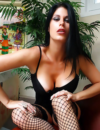 Arousing solo girl in fishnet...