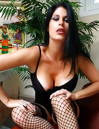 Arousing solo girl in fishnet...