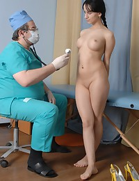 Braided bemused test girl of a male doctor
