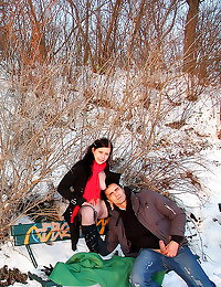 Sex in the snow outdoors
