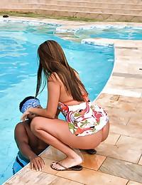 Brazilian girl pumped outdoors