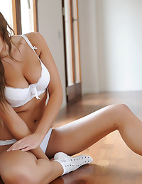 White push up bra is sexy on the lovely natural girl Emma Frain