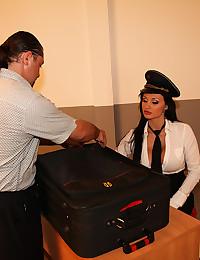 Two airline pilot sluts get fucked