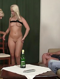 His girlfriend gets naked with his parents and they have a hot hardcore threesome