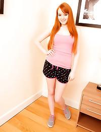 Yummy redhead in blue lingeri...