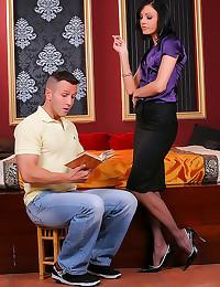 Purple satin blouse beauty sc...