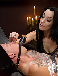 Slaveboy is CBT'ed, single tailed, made to cum from strap-on anal then teased and denied by Mistress January Seraph