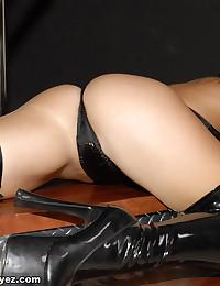 Princess Blueyez - Kinky blonde babe in sexy black latex lingerie