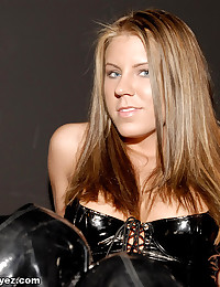 Princess Blueyez - Kinky blonde babe in sexy black latex lingerie