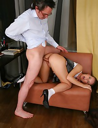 Snezhana got horny and when her old tutor pushed his cock between her sexy legs her poon was dripping wet.