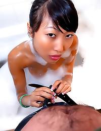 POV titjob with Asian amateur