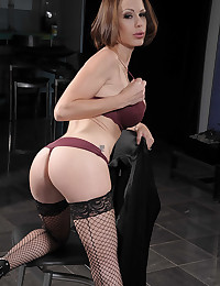 Mckenzie In Seductive Fishnet Stockings