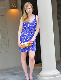 Fair Skinned Blonde Emilee Bends Over