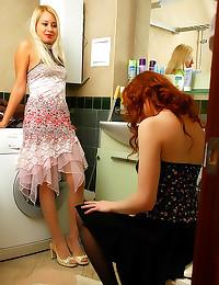 Bathroom lesbian fool around