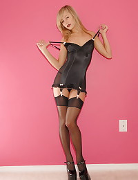 Teen Kasia - Charming blonde model in stocking on garter belts