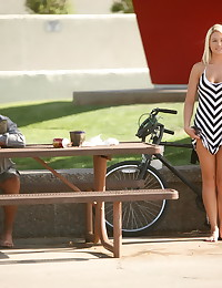 Alison Angel - Beauty with sunglasses strips her dress